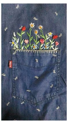 Embroidery On Clothes, Shirt Embroidery, Embroidery Fashion, Ribbon Embroidery, Embroidery Stitches, Embroidery Designs, Embroidered Denim Shirt, Embroidered Clothes, Embroidery Flowers Pattern