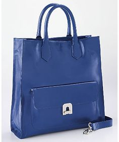 Leather Turnlock Tote from Monroe and Main
