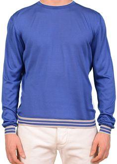 KITON Napoli Made In Italy Blue Silk Crewneck Ribbed Sweater EU 50 NEW US M