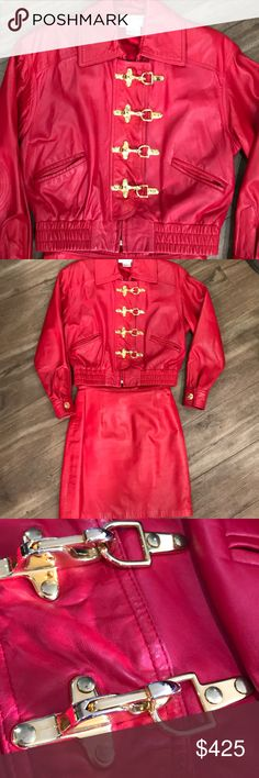 """Red HoT St. John leather 2pc Red leather 2 piece by St. John. Gorgeous red color, beautiful gold buckles, quilted elbows,butter soft leather great condition marked size petite does fit medium check measurements skirt size 4,shoulders 18""""length from neck to bottom 22 inches, sleeve 22 inches, skirt 13.5"""",hips 19"""",length 19"""" Vintage Other"""