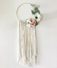 Custom made wool wall hanging with artificial flowers. These can be customized with your color choices of flowers. Please note that flowers may vary slightly due to the seasonal nature of florals. Wool Wall Hanging, Wall Hangings, Boho Backdrop, Floral Wall, Wall Hanger, Sewing Tutorials, Diy And Crafts, Projects To Try, Crafty