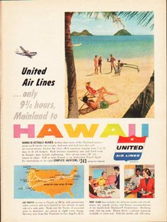 "Description: 1953 UNITED AIR LINES vintage magazine advertisement ""Mainland to Hawaii"" -- United Air Lines ... only 9 3/4 hours, Mainland to Hawaii ... Hawaii is actually nearer, in time, than many of the Mainland vacation areas you'd visit by car or train. -- Size: The dimensions of the full-page advertisement are approximately 8.25 inches x 11 inches (21 cm x 28 cm). Condition: This original vintage full-page advertisement is in Excellent Condition unless otherwise noted."