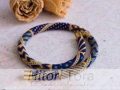 "Bead crochet necklace ""Gold&Blue"" Luxuru Bead Jewelry by HitoriToraWorkshop on Etsy"