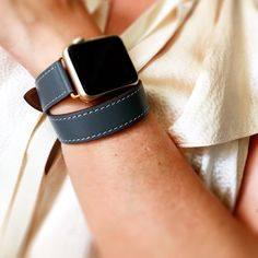 Gray Hand-Stitched Apple Watch Leather Double Tour Band, Double Wrap Apple Watch Band, 38mm Apple Watch Leather Band, Gold, Rose Gold, Black