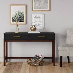 Provide storage in any room of the house with the Two Tone Console Table in Matte Black from Threshold. This storage console table gets a lift from the brown wood feet and has drawers that conceal your belongings. Slim Console Table, Entryway Tables, Foyer, Decoration Entree, Modern Entry, My New Room, Consoles, Contemporary Style, Storage Spaces