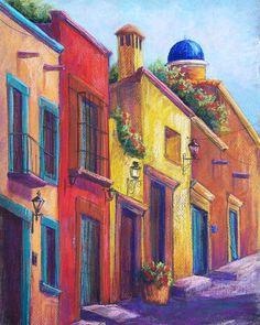 Colorful San Miguel Pastel  - Colorful San Miguel Fine Art Print