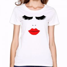 Eyelash red lips King Queen T Shirt Women Tumblr rock summer 2017 Print T Shirt japan Tie Dye T-shirt Women Anime Hip Hop Shirts