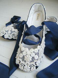 Something Blue Wedding Shoes Bridal Ballet Flats by BobkaBaby, $199.00