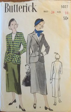 RARE VTG 5027 Butterick 1949 woman's two piece by ThePatternParlor