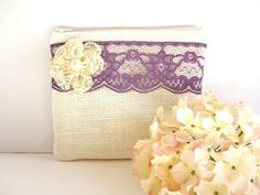 Burlap And Lace Clutch - Burlap Makeup Bag - Plum Lace Clutch - Ivory Burlap Clutch - Cosmetic Bag - Rustic Clutch - Bridesmaid Gift by SewSouthwest on Etsy