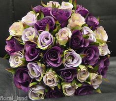 silk wedding bouquet artificial purple lilac  lavender posy $65
