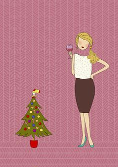 Illustration for Christmas card // woman drinking wine next to the smallest Christmas tree copyright: Mucsi Boglárka