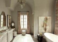 F&B Pavilion Gray on walls an cabinetry. Show House Master Bath - traditional - Bathroom - Atlanta - J. Hirsch Interior Design, LLC