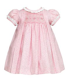 Anavini Baby / Toddler Girls Pink Floral Smocked Amelia Float Dress with Ruffle Collar Smocked Baby Clothes, Smocked Dresses, Baby Girl Smocked Dress, Baby Gown, Little Girl Dresses, Girls Dresses, Smocking Baby, Toddler Dress, Toddler Girls
