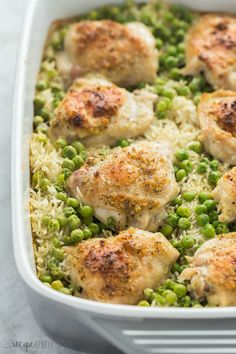 This easy Chicken and Rice Bake has just 7 ingredients and is so easy to customize! Get a healthy dinner on the table with minimal effort & maximum flavor. White Rice Recipes, Easy Rice Recipes, Easy Dinner Recipes, Healthy Dinner Recipes, Dinner Ideas, Healthy Food, Entree Recipes, Cooking Recipes, Easy Chicken And Rice