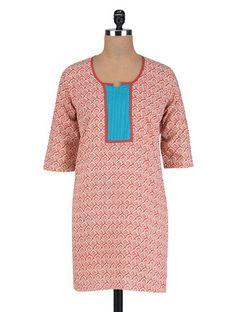 Buy Vastra Vinod Printed Red Cotton Kurta Online, , LimeRoad