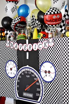 Speedometer party table from a Race Car Birthday Party on Kara's Party Ideas   KarasPartyIdeas.com (16)