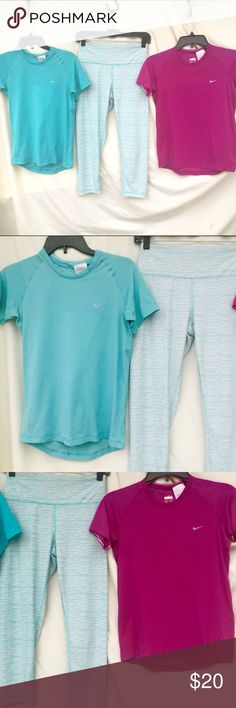 ATHLETIC BUNDLE ALL 3 ITEMS INCLUDED! ALL 3 size medium! ALL 3 included n price! 2 Nike short sleeves & 1 Capri (misc. brand) Nike Tops Tees - Short Sleeve