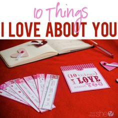10 things I love about you | How Does She? | Show your loved ones how much they mean to you by sharing the 10 things you love about them. Use the pictured envelope and numbered strips for inspiration and make a card or write a letter. #valentine
