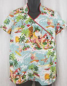 becac6838ac Hawaiian TIki Surfing Santa Christmas Scrub Top Size Small Reindeer Playing