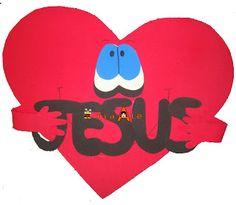 Love this heart decoration I love Jesus. Sunday school decor?