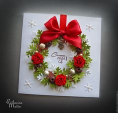Купить Открытка «Новогодний венок» - открытка, Открытка ручной работы, Открытка на новый год, Новый Год