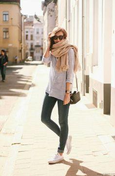 Boyfriend button up /rolled skinnies / neutrals / oversized scarf / Converse
