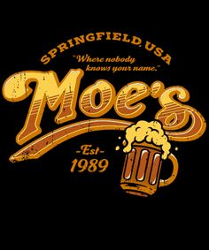 """The Simpsons T-Shirt by Julien Bazinet aka Baznet aka JBaz. """"Moe's"""" is a parody of the Cheers logo for fans of the Simpsons. Simpsons T Shirt, Simpsons Art, Day Of The Shirt, Watch Cartoons, Custom T, Pop Culture, Graphic Tees, Character Design, Neon Signs"""