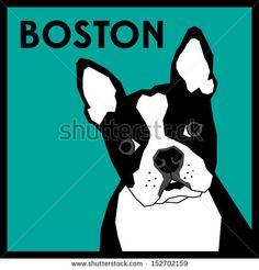 Boston Terrier Vector - stock vector