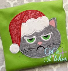 Grumpy Santa Cat Embroidery Design