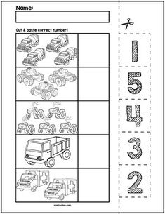 Transportation Cut & Match Worksheets | Numbers 1-5