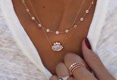 14kt gold moonstone diamond crown necklace – Luna Skye