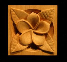 Carved Wood Corner Block - Plumeria - New Wood Carving Designs, Wood Carving Patterns, Wood Tile Floors, Wood Paneling, Wood Crafts, Diy And Crafts, Intarsia Wood, Small Figurines, Chip Carving