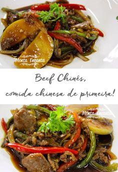 Beef Chinês, bifes em tiras finas grelhado com legumes de sua preferência, shoyo e amendoim torrado. Na wok sem bagunça e delicioso!!