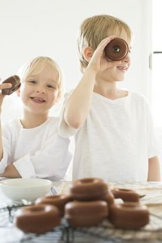 Baking chocolate donuts :) An Easter shoot by Confetti Mag - www.confettimag.c... Photo by Honey Atkinson, Styling by Karen Locke.