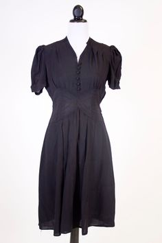 how I imagined Isabelle's black dress for the Rendezvous~ Vintage 1930s black rayon dress, as-is