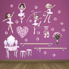 Stickers pour enfants: Kit danseurs. Kit Stickers pour enfants. Bailarinas de ballet #stickersmuraux #decoration #motifs #mosaïque #ballet #bailarinas #WebStickersMuraux