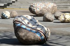 Dalila Goncalves concrete-cast boulders partially coveredwith hand-crafted decorative Portugese azulejos tiles.