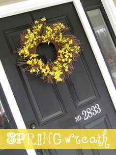 Black Painted widow frames, and offset house numbers – Front Porch Inspiration – Spring Wreath İdeas. Front Door Paint Colors, Painted Front Doors, Front Door Decor, Wreaths For Front Door, Door Wreaths, Front Porch, Wreath Crafts, Diy Wreath, Wreath Ideas