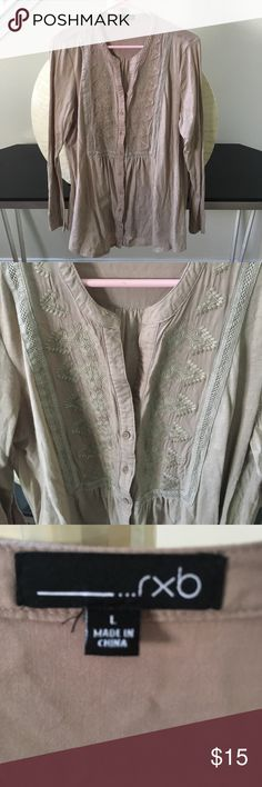 Lightweight tan cotton button down shirt In excellent condition! Lightweight, 100% cotton embroidered top. Thanks for looking.💕 rxb Tops Button Down Shirts