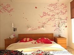 cherry blossom tree wall decal vinyl for girl nursery room tree branch stickers Gold Painted Walls, Gold Walls, Nursery Room, Nursery Decor, Girl Nursery, Vinyl Wall Decals, Wall Stickers, Cherry Blossom Tree, Little Girl Rooms