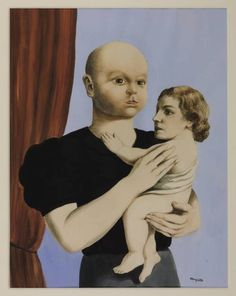 René Magritte - The Spirit of Geometry, 1937.  René Magritte - doing baby/parent head swaps since way before it was cool.