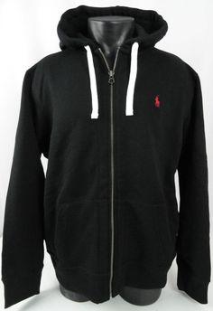 NWT Polo Ralph Lauren Mens XL Hoodie Full Zip Sweatshirt Black LS Cotton Heavy #PoloRalphLauren #Hoodie