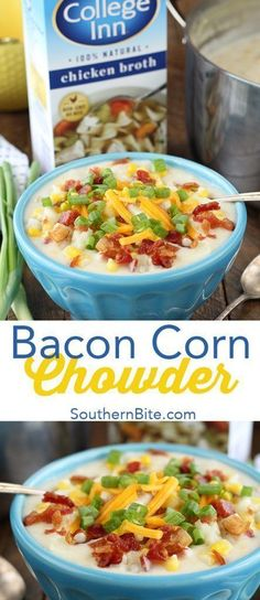 This Bacon Corn Chowder recipe is ready in about 30 minutes and there's no peeling or chopping! It's easy and delicious! @CollegeInnBroth #ad #CollegeInnBroth #recipe #easy #soups
