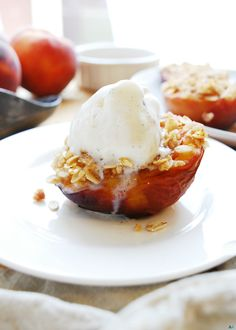 Streusel Stuffed Peaches (Gluten, dairy, egg, soy, peanut & tree nut free…