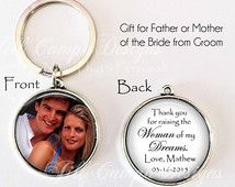 "Father or Mother of the BRIDE GIFT, from Groom - ""Thank you for raising the woman of my dreams"" - Your Photo on one side, personalized"