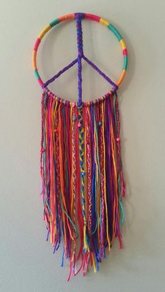 Rainbow Dream Catcher- Peace Sign/Tree of Life- Handmade Home Decor/Wall Decor/Hanging - Rainbow Dream Catcher Peace Sign/Spiral Handmade Home Dream Catcher Craft, Dream Catcher Boho, Diy Dream Catcher For Kids, Making Dream Catchers, Handmade Dream Catcher, Yarn Crafts, Diy And Crafts, Arts And Crafts, Hippie Crafts