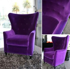 Deep Purple Wing-back Chair.Chair for the purple queen. Purple Furniture, Velvet Furniture, Diy Furniture, Deep Purple, Retro Office Chair, Cute Diy Room Decor, Purple Home Decor, Purple Chair, Velvet Armchair