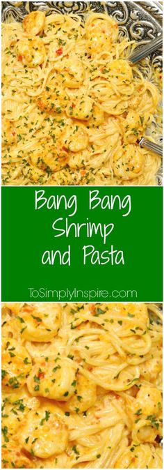 This Bang Bang Shrimp and Pasta has the most scrumptious, creamy sauce. Plus it's ready in about 20 minutes! #seafoodrecipes