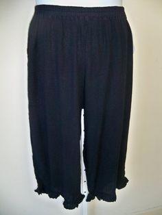 Maria De Guadalajara  * Wanda Crop Pants Black XL Cotton Gauze  #MariaDeGuadalajara #CaprisCropped
